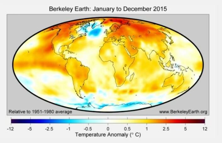 "Temperatur i 2015 (avvik fra ""normalperioden"" 1951-1980). (Bilde: Berkeley Earth)"