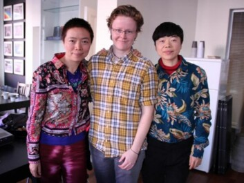 Elisabeth Lund Engebretsen (in the middle) with the artists, activists and gay icons Shitou and Mingming from China during their visit to Norway in 2012. (Photo: Ida Irene Bergstrøm)
