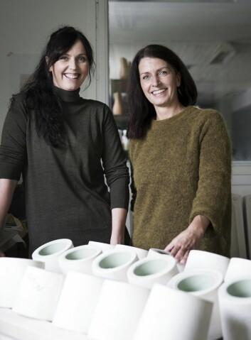 Søstrene Sidsel og Ingvild Hemma driver porselensproduksjon på Fåberg utenfor Lillehammer. (Foto: Privat)