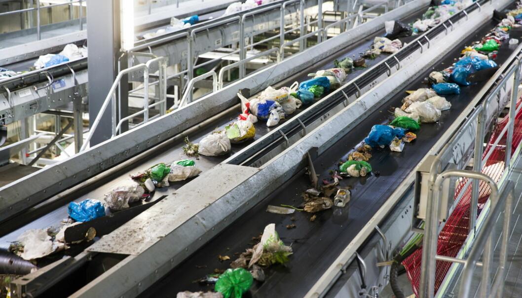 På vei til å bli biogass. Grønne poser med matavfall på Klemetsrud energigjenvinningsanlegg i Oslo. (Foto: Berit Roald, NTB scanpix)