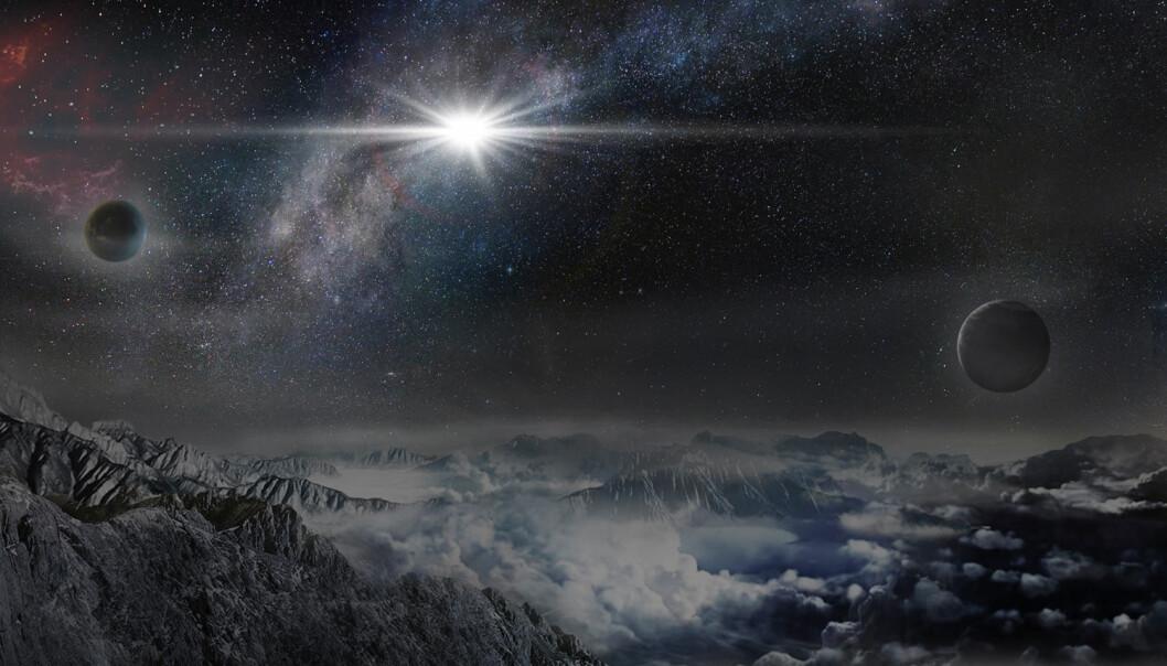 Slik kunne ASASSN15lh kanskje sett ut om du bodde på en planet 10 000 lysår unna, i den samme galaksen.  (Illustrasjon: Wayne Rosing)