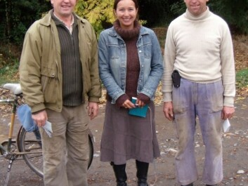In 2001, Marcela Douglas became the first researcher to gain access to Colonia Dignidad. She is pictured here with two of her informants, Rudiger Schmidtke (left) and Hilo Zeitner Bohnau. (Photo: Colonia Dignidad/Marcela Douglas)