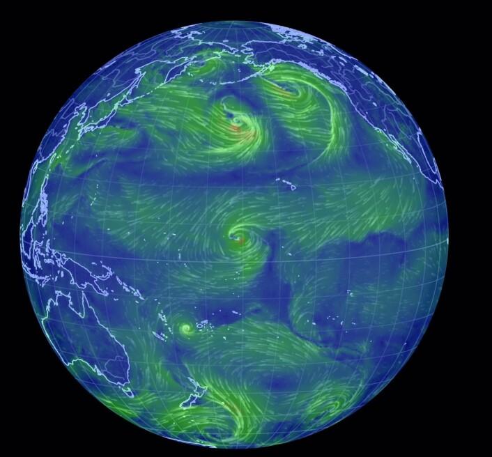 Et nytt vestavindsutbrudd pågår nå i det området hvor det varmeste ekvatorielle overflatevannet befinner seg i Stillehavet. (Bilde: Earthwindmap)