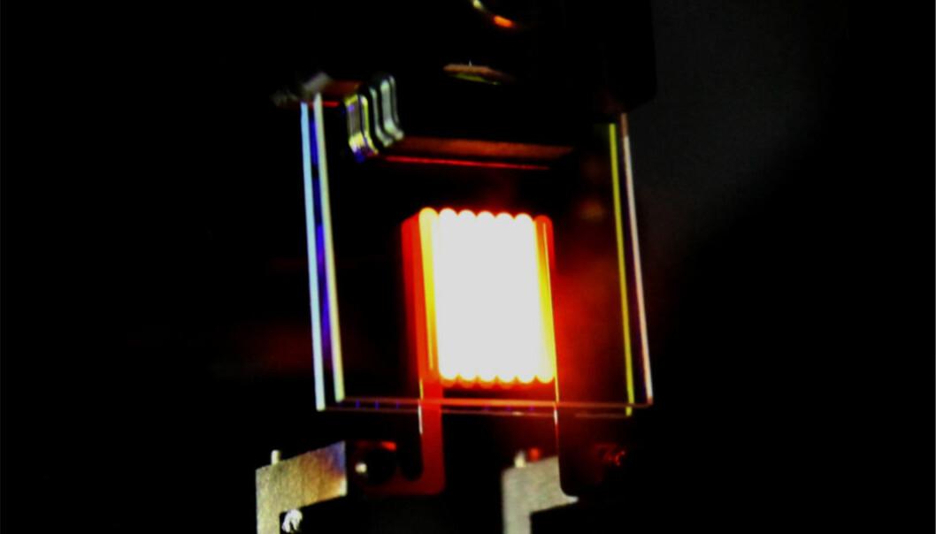 Vanlige glødelamper sløser bort mesteparten av energien som varmestråling. Nå har forskere brukt filtere med ørsmå mønstere til å omforme denne varmestrålingen til synlig lys. Dermed nærmer den seg energieffektiviteten til en lysdiode, LED. (Foto: Ognjen Ilic/Nature)