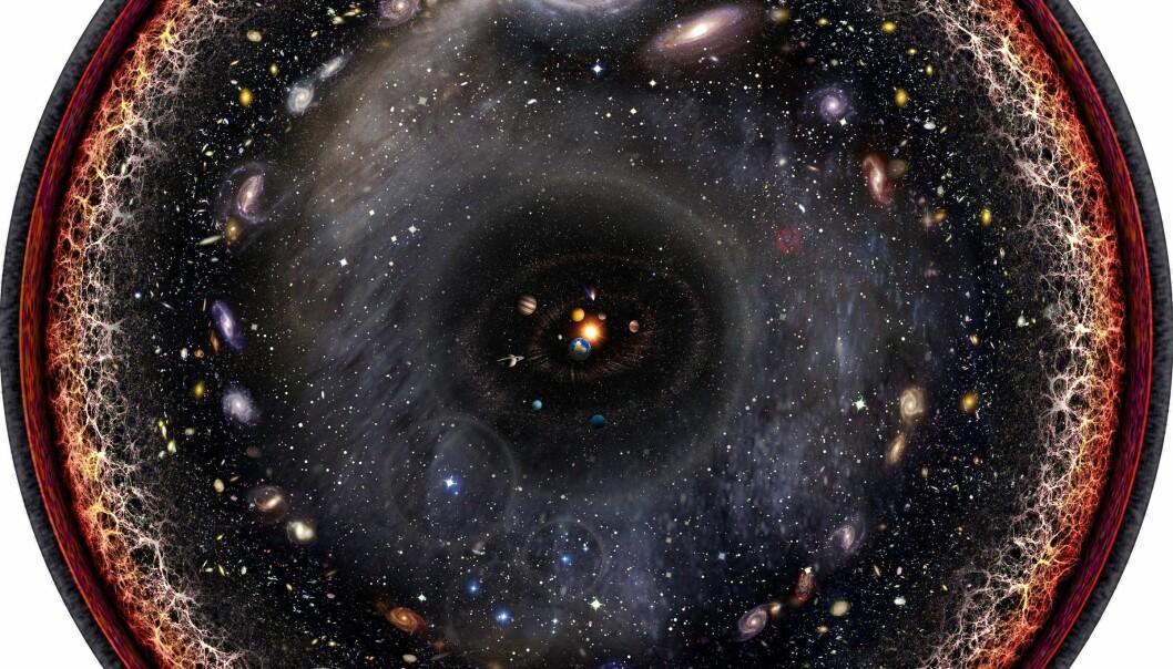Kunstneren Pablo Carlos Budassi har laga et bilde hvor man kan se hele det observerbare universet. (Foto: Pablo Carlos Budassi, Wikimedia Commons)