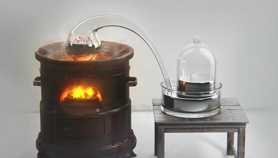 Dette apparatet brukte Antoine Lavoisier for å se hva som skjedde når kvikksølv ble varmet opp.  brukt med tillatelse fra BeautifulChemistry.net/USTC.