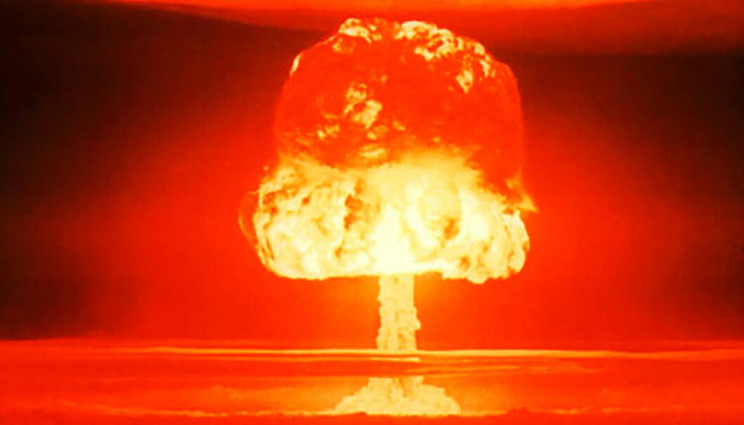 Hydrogenbomben som eksploderte på Bikiniatollen i Stillehavet i 1952 hadde en sprengkraft tilsvarende 11 millioner tonn TNT. Det er rundt 550 ganger kraftigere enn bomben som sprang over Nagasaki i 1945. Den nordkoreanske bomben som nå er prøvesprengt, har trolig en tilsvarende sprengkraft som Nagasaki-bomben, ifølge en ekspert ved FFI. (Foto: United States Department of Energy)