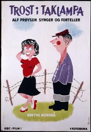Filmplakat fra <em>Trost i taklampa</em>. (Foto: (Fotorettigheter: Øistein Borge/Nasjonalbiblioteket))