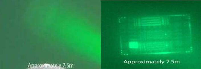 Bilde av sjakkbrettmønster på 7,5 meters avstand med vanlig kamera til venstre. Til høyre ser man bildet som prototypen av det nye kamera har tatt av det samme objektet.  (Foto: SINTEF)