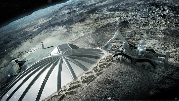 3D-printede oppblåsbare kupler som dekkes av løsmasser fra månens overflate, regolith, er blant planene til den europeiske romfartsorganisasjonen ESA.  (Foto: (Illustrasjon: ESA, Foster + Partners, NTB Scanpix))