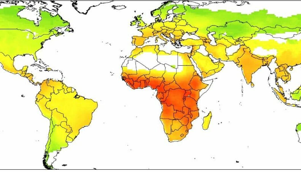 Kartet viser hvor det er størst sannsynlighet for smitte mellom mennesker og flaggermus.  (Kart: Brierley, L. et al.)