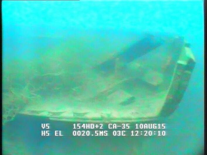 AUV-en viste en båtlignende form. ROV-en bekreftet funnet.  (Foto: NTNU Vitenskapsmuseet)