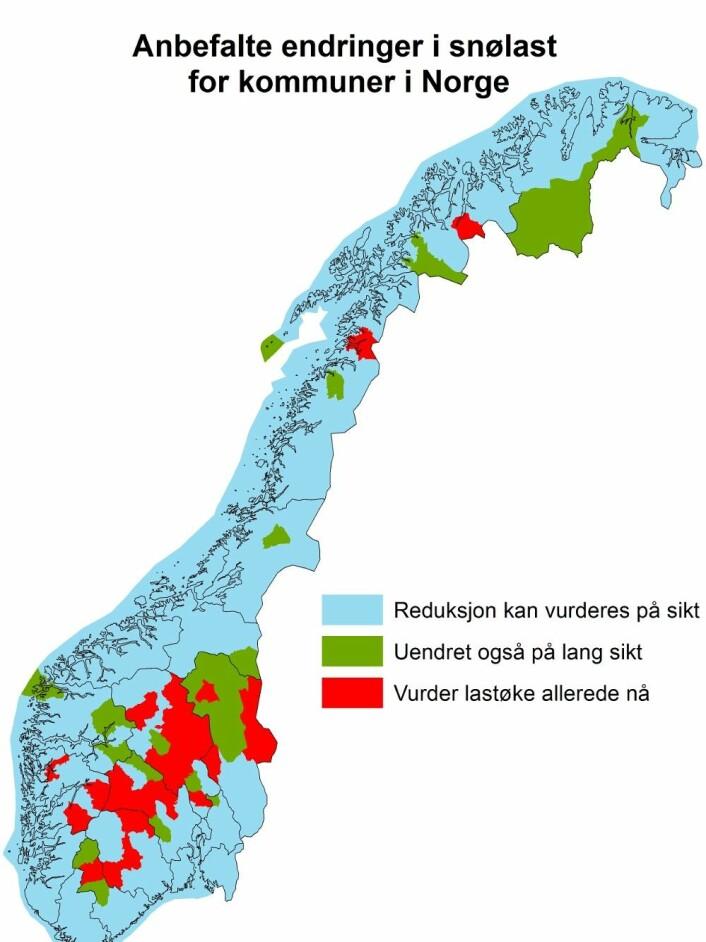 Klima 2050 har anbefalt at 34 kommuner i indre Sør-Norge endrer standarden for hvordan tak på nybygg skal dimensjoneres for å tåle de økte snømengdene.  (Foto: (Grafikk: Klima 2050))