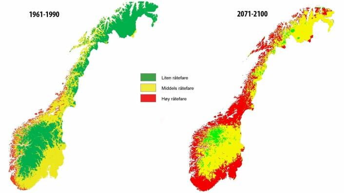 Basert på framtidsspådommene til klimaforskerne, har Klima 2050 laga disse kartene.  (Foto: (Grafikk: Klima 2050))