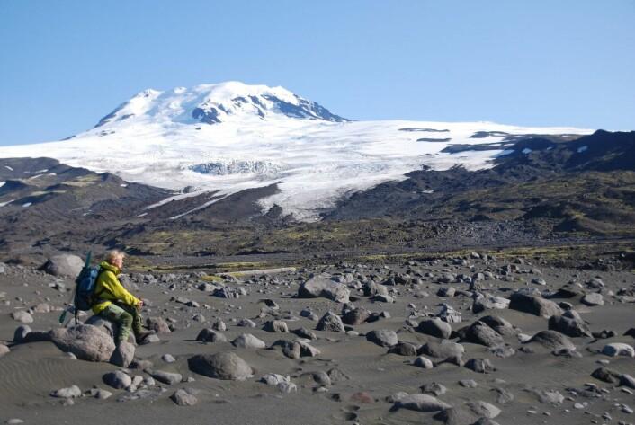 lkanen Beerenberg som rager 2277 m over havnivå, er dekket av is. Den er verdens nordligste aktive vulkan. Flere av breutløpere rekker ned til, eller nesten ned til dagens havnivå. Foran mange av disse breutløperne finner vi flotte, markerte morener som vitner om at isen har trukket seg tilbake de siste tusener av år. (Foto: Eiliv Larsen, NGU)