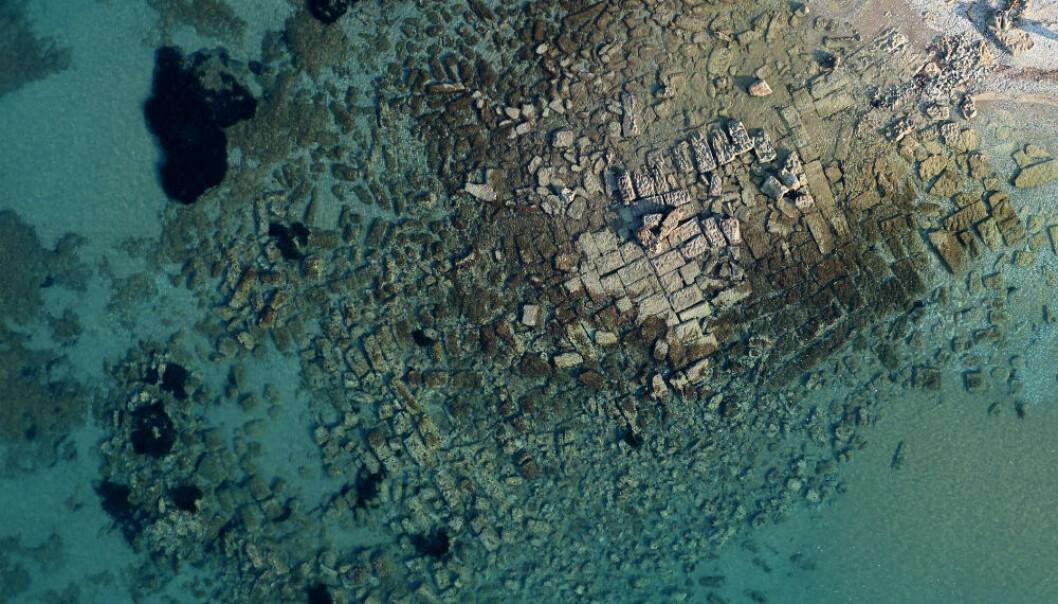 Havneanlegget i Lechaion sett ovenfra.  (Foto: Københavns Universitet)