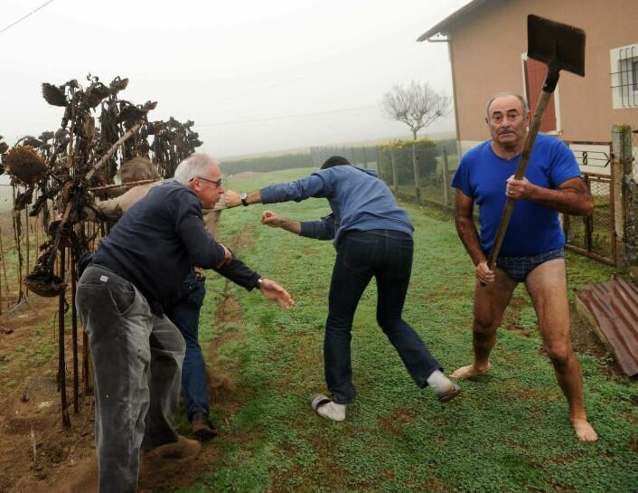 Slåsskamp på den franske landsbygda. (Foto: Gaizka Iroz/Afp)
