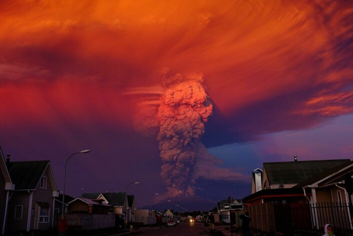 Vulkanutbrudd i Chile. (Foto: Alex Vidal Brecas/Epa)