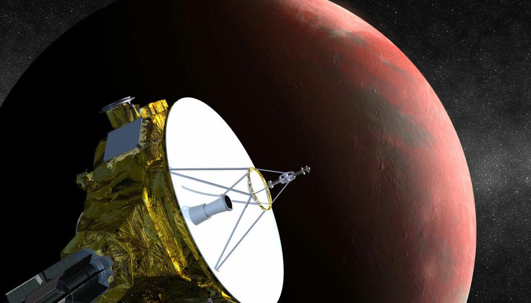 NASA-sonden New Horizons, her i en illustrasjon, er skrudd på og klar til å utforske Pluto. Sonden passerer tett inntil dvergplaneten i sommer. (Foto: NASA, Reuters, NTB scanpix)