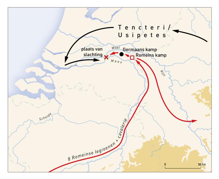 Kartet viser hvordan de germanske stammene krysset Rhinen og møtte Romerne ved dagens Kessel. Det røde krysset viser hvor massakren skal ha funnet sted. (Foto: Vrije Universiteit Amsterdam)