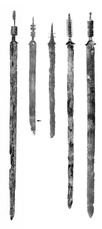 Germanske sverd som ble funnet i området. (Foto: Vrije Universiteit Amsterdam)