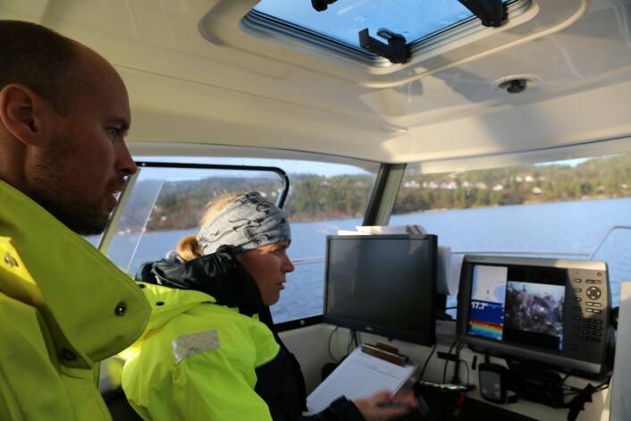 Even Moland og Carla Freitas kartelegger bunnen av Tvedestrandfjorden fra båt ved hjelp av «dropp-kamera», ekkolodd og GPS.    (Foto: Esben Bierud, Havforskningsinstituttet)