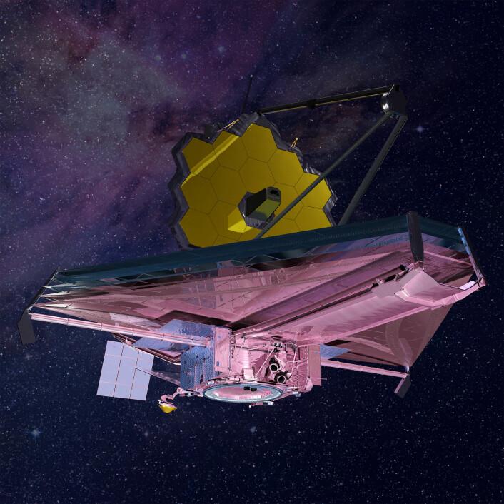 Romteleskopet James Webb er Hubbles arvtaker. Det er et amerikansk-canadisk-europeisk samarbeidsprosjekt og skal skytes opp i oktober 2018. (Foto: NASA/N. Grumman)