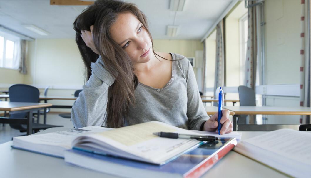 – Dårlig mental helse ser ut til å være en viktig forklaring på hvorfor mange elever faller fra, sier forsker. (Illustasjonsfoto: Foto: Berit Roald, NTB scanpix)