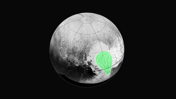 Her ligger Sputnik-platået på Pluto. (Foto: (Bilde:NASA))