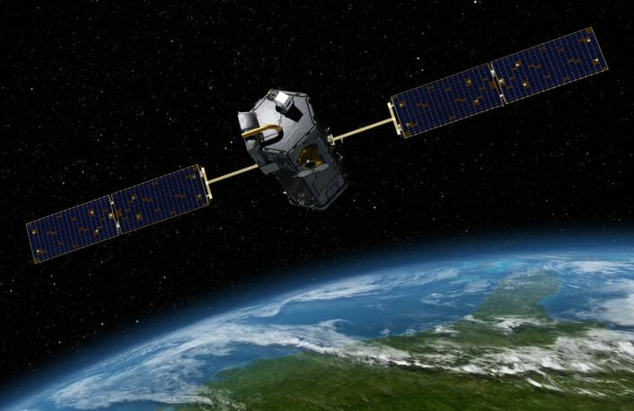 Den amerikanske satellitten OCO-2 overvåker konsentrasjonen og fordelingen av CO2 i atmosfæren. Den ble skutt opp 2. juli 2014. I fremtiden vil flere slike satellitter fra USA, Kina og Japan overvåke klimagasser i atmosfæren. (Foto: (Illustrasjon: NASA))