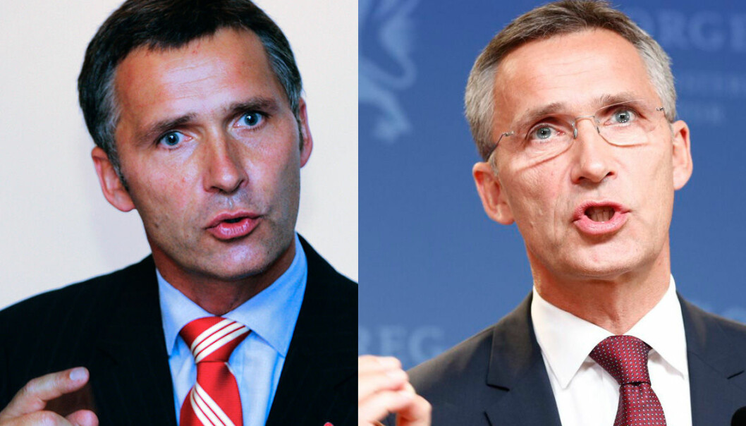 Jens Stoltenberg i 2005 og 2013. Betydelig gråere i håret etter to perioder som statsminister. Har jobben bidratt til sølvet i tinningene? (Foto: Erlend Aas/NTB Scanpix/Gorm Kallestad/NTB Scanpix)
