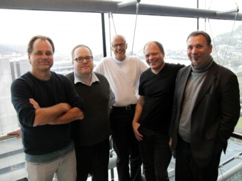 Five of the six NHH and UiB researchers behind the new study that shows how the brain responds to questions regarding fairness and inequality. Left to right: Bertil Tungodden (NHH), Erik Ø. Sørensen (NHH), Kenneth Hugdahl (UiB), Alexander W. Cappelen (NHH) and Karsten Specht (UiB). (Photo: Solrun Dregelid, University of Bergen)