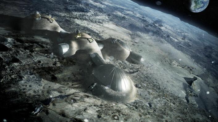 3D-printede oppblåsbare kupler som dekkes av løsmasser fra månens overflate, regolith, er blant planene til den europeiske romfartsorganisasjonen ESA. (Foto: (Illustrasjon: ESA/Foster Partners))