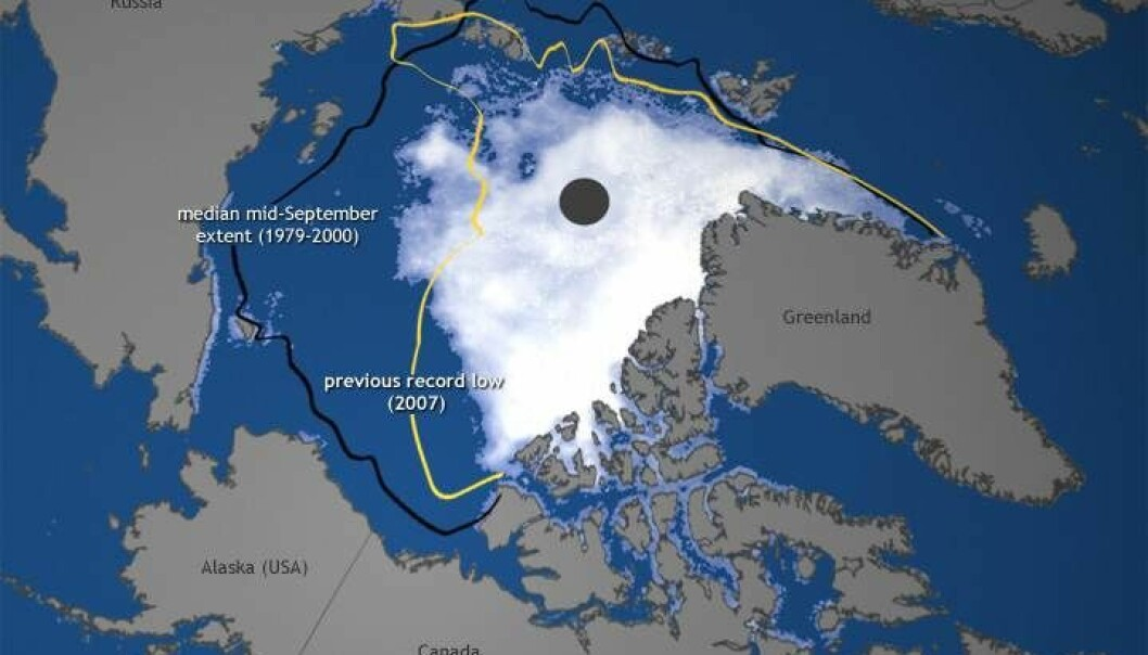 This is the extent of sea ice in the Arctic today, which also show its extent in 2007 and its average extent in September from 1979 to 2000. (Map: http://www.arctic.noaa.gov/report12/)