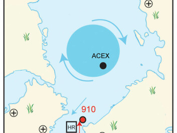 The distribution of ice in the Arctic five million years ago. The red dot marks the location of IODP Hole 910C. (Illustration: CAGE)