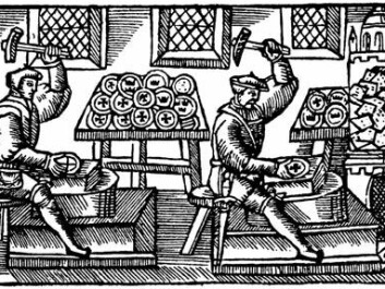 """A coin workshop in the mid 1500s, as is shown in the Swedish-Italian archbishop Olaus Magnus's great work, """"History of the Nordic peoples"""" (1555)."""