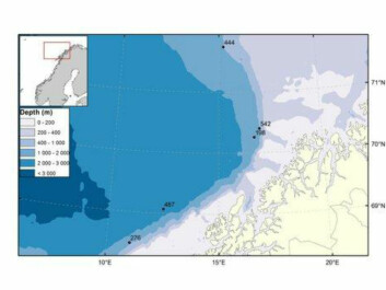The five MAREANO stations where the new species, Halirages helgae, was found. All of the stations lie at depths of more than 1,000 metres. (Map: Kjell Bakkeplass, IMR)