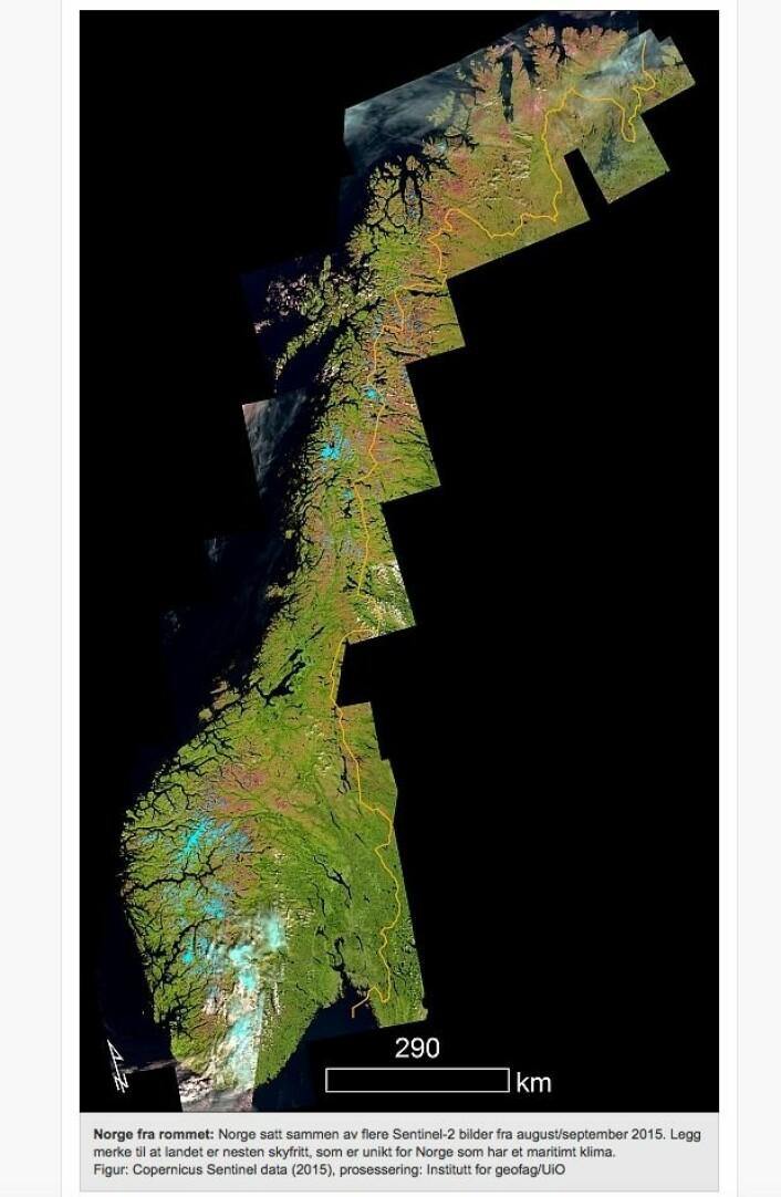 Fagert er landet. (Bilde: Copernicus Sentinel data 2015 / Institutt for geofag UiO)