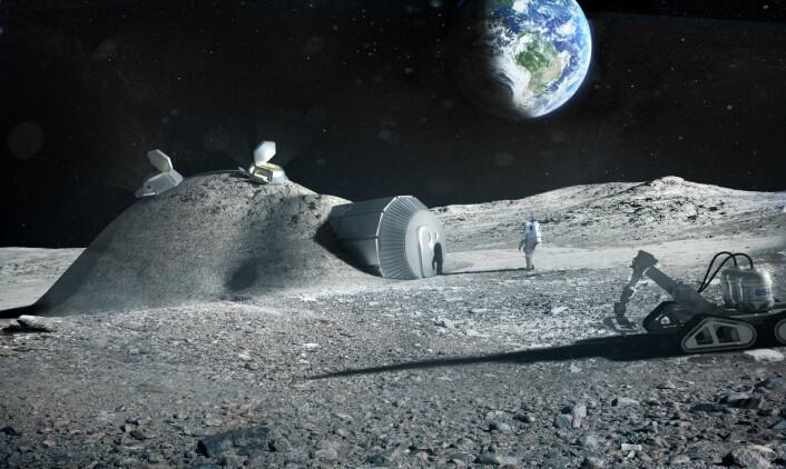 En oppblåsbar kuppel er dekket med månemateriale for å beskytte kolonistene mot farlig kosmisk stråling i denne konseptstudien fra den europeiske romfartsorganisasjonen ESA, laget i samarbeid med arkitektfirmaet Foster Partners. (Foto: (Illustrasjon: ESA/Foster + Partners))