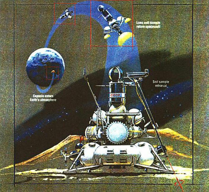 Luna 24 er den hittil siste i denne serien av russiske månesonder. Den landet i Mare Crisium 18. august 1976 og returnerte 170,1 gram måneprøver til Sibir 22. august samme år. (Foto: (Illustrasjon: NASA))