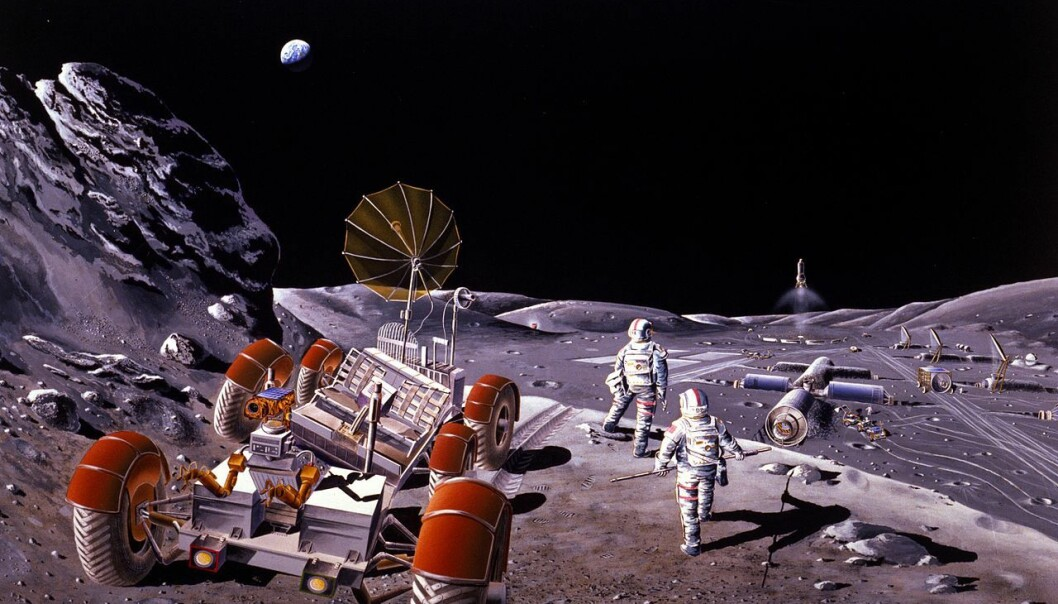 Russerne planlegger en månebase etter 2030, både for industri og forskning. Vann på månens sydpol kan brukes til å opprettholde livet for beboerne på basen og som råstoff til rakettdrivstoff for ferder videre ut i rommet. Denne illustrasjonen er fra en amerikansk studie i 1984. (Illustrasjon: NASA/Dennis M. Davidson)