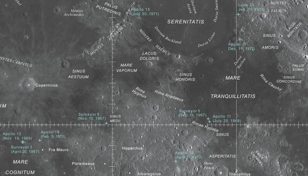 En del av månen på kartet fra USGS. Her kan du se hvor Apollo-fartøyene landet.  (Foto: USGS, NASA, ASU)