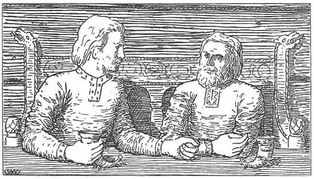 Harald Hardråde likte å ta seg en fest. Her satt han med Svein «ein kveld og svalla og drakk», beretter Snorres kongesagaer. (Illustrasjon: Wilhelm Wetlesen, Snorre Sturlasons Heimskringla, J.M. Stenersen & Co 1899. Bildet er falt i det fri, hentet fra Wikimedia Commons)