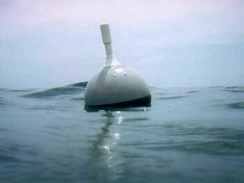 The surface drifters are designed with a 15-m-long drogue, an anchor device to ensure the buoy drifts with water movement rather than being driven by winds. The drifters transmit their position and water temperature several times daily. (Photo: Global Drifter Program)