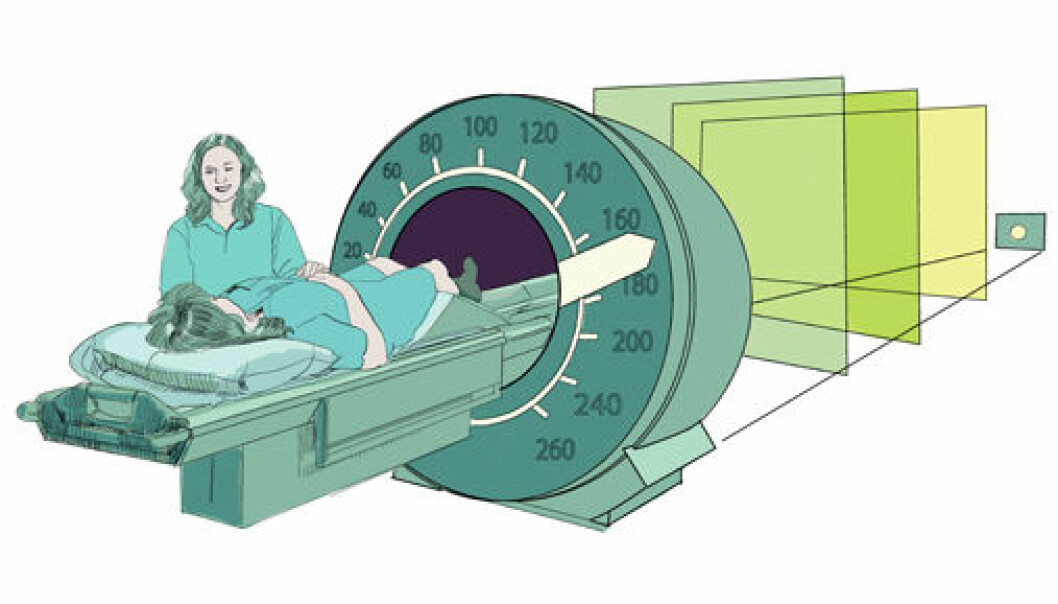 The new mathematical method will make it possible to perform an MR examination six times faster than today. This means that hospitals will be able to perform far more examinations without having to buy any more MR scanners. (Illustration: Knut Løvås)