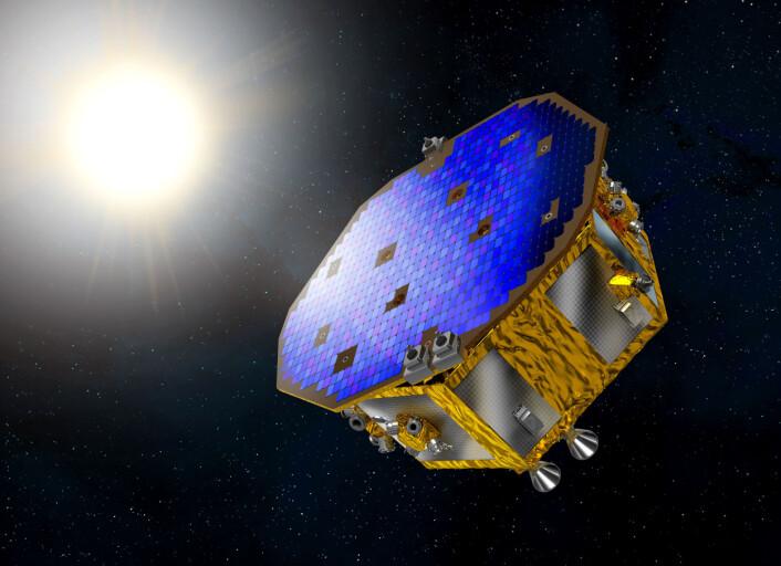 LISA Pathfinder skal teste teknologi for å detektere gravitasjonsbølger i rommet og skytes opp 2. desember 2015. Det er forløperen for et større gravitasjonsbølgeobservatorium. (Foto: ESA)