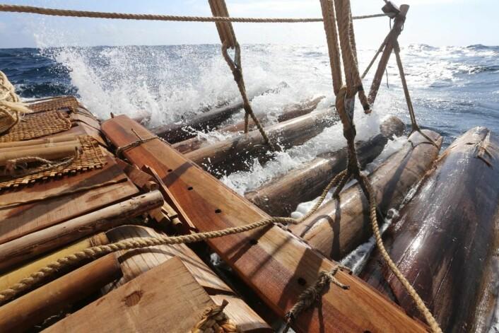 Kon-Tiki 2-flåtene har ikke ror, men til gjengjeld 10 kjøler (guarra-bord). (Foto: Håkon Wium Lie, Kon-Tiki 2)