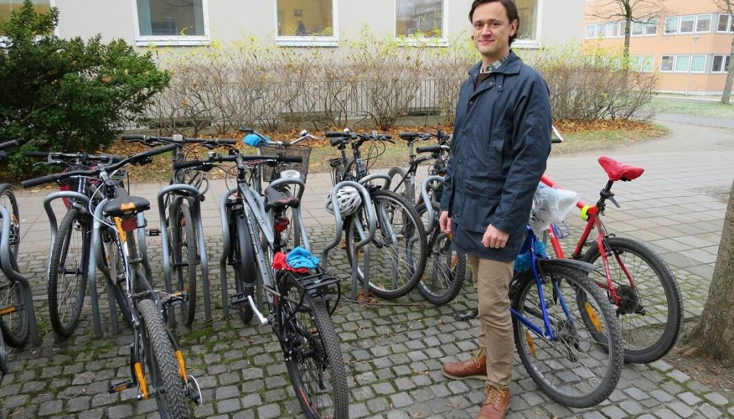 Bilfri dag er ett av sju tiltak som monner, ifølge NTNU-forsker Kjartan Steen-Olsen. Da er sykkelen god å ha.  (Foto: Maren Agdestein, NTNU)