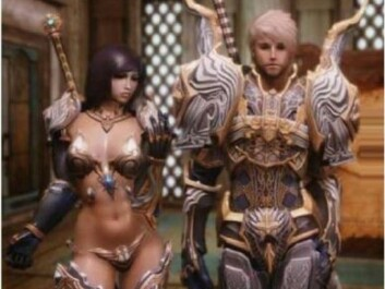 """In online computer games, extremely gender stereotypical characters are the norm. The term """"same item - same stats"""" refers to the characters' armour; they have different design but the same effect."""