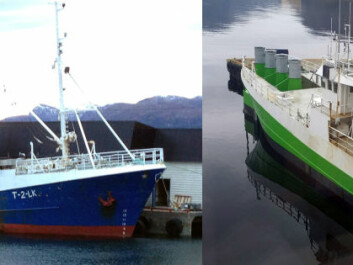 Then and now. The vessel as it once was, and today in its role as a small power plant. It is now anchored and generating electricity offshore Stadt. Havkraft AS aims to scale up the plant to enable it to produce hydrogen. (Photo: Havkraft AS)